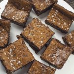 Salted caramel and banana brownie slices