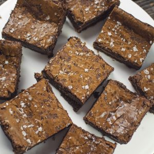 slices of saled caramel and banana brownie with sea salt