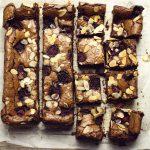 bakewell and belgian chocolate brownies