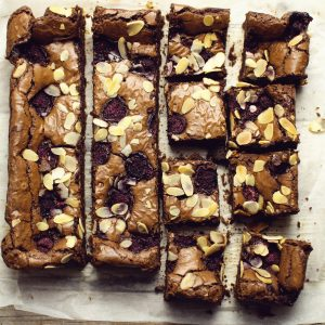 bakewell and belgian chocolate brownies