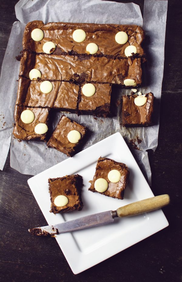 chocolate brownie with white chocolate chips