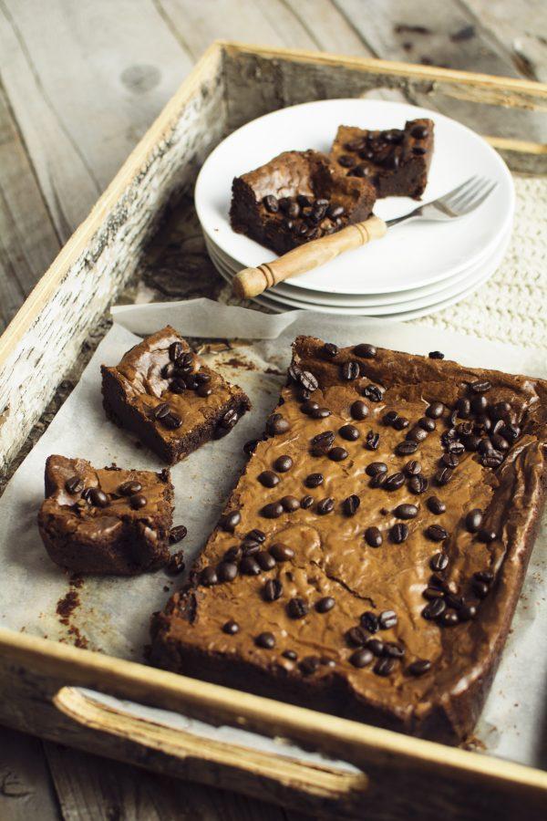 real belgian chocolate brownies with mocha coffee