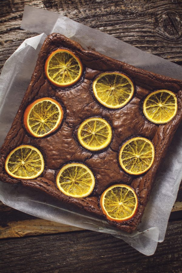 zesty orange brownie with real orange zest