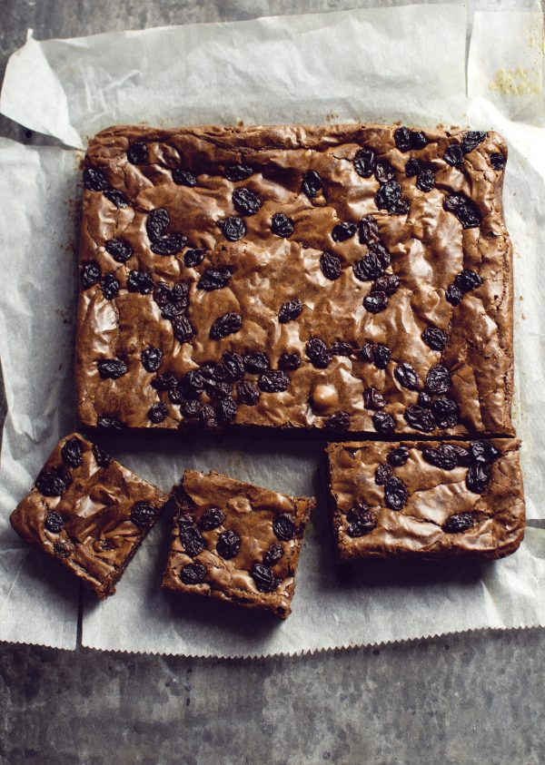 rum and raisin brownie made with spiced rum