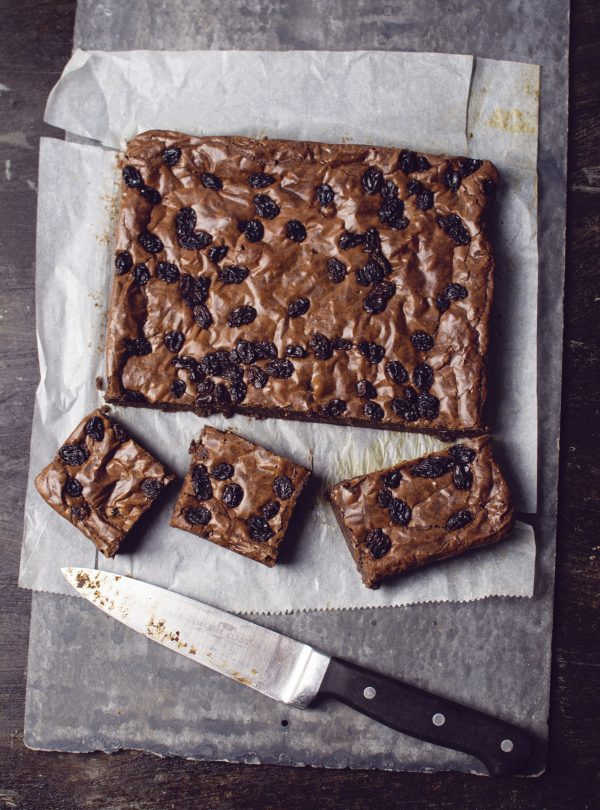 delicious rum and raisin chocolate brownie